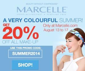 20% off ALL Make-Up on Marcelle.com Enter code SUMMER2014