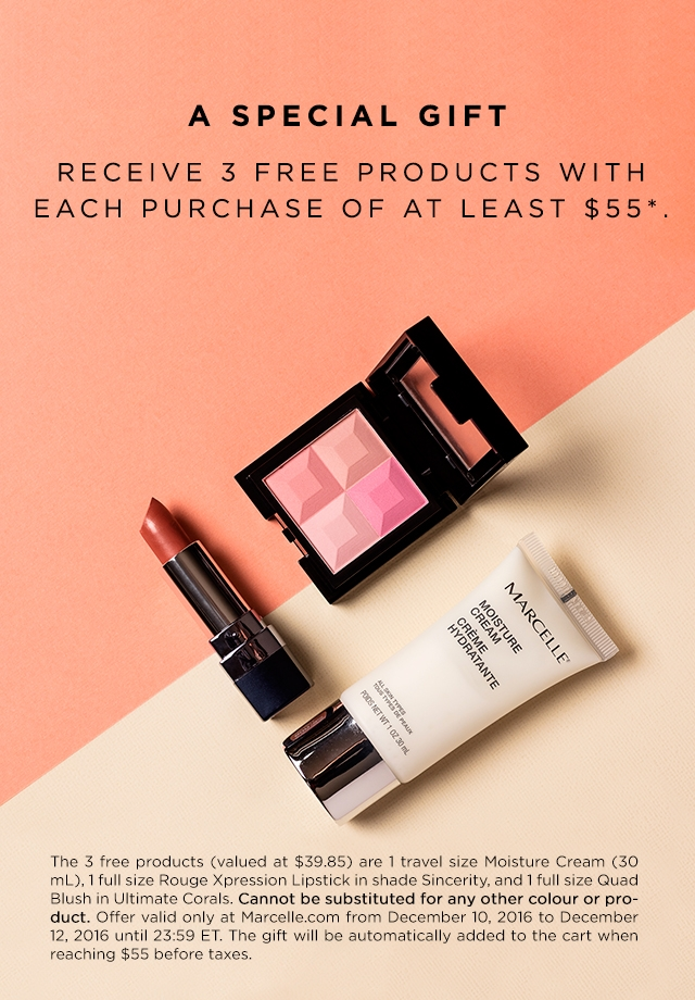 Receive a free 3-piece bonus gift with your $55 Marcelle purchase
