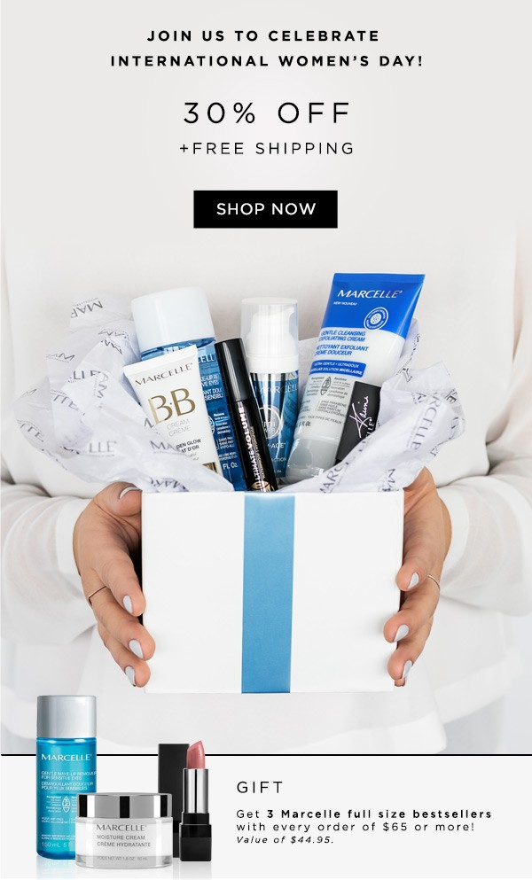 Receive a free 3-piece bonus gift with your $65 Marcelle purchase
